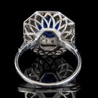 Art Deco Sapphire Diamond Cluster Ring 18ct Gold 1.50ct Sapphire 1.69ct Diamond c.1930 (4 of 7)