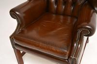Antique Georgian  Style  Leather Wing Back Armchair (7 of 10)
