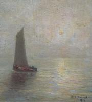 W. H. Renwick Small Edwardian Moonlit Sailing Seascape Oil Painting (4 of 11)
