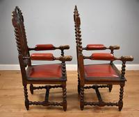 Pair of 1910 Oak Barley Twist Armchairs (3 of 15)