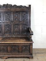 Antique Victorian Carved Oak High Back Settle (13 of 15)