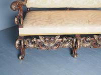 Charles II Style Gilded Walnut Humpback Sofa (7 of 11)