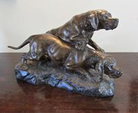 Large Sculpture of Spelter Hunting  Dogs By T.  Cartier with a  Bronzed Finish (2 of 7)