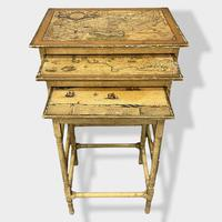 Italian Painted Nest of Tables with Map Prints (2 of 10)