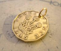Vintage Pocket Watch Chain Fob 1945 WW2 King George V1 Threpenny Bit Coin Fob (6 of 6)