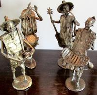 Collection of Four Large  African Bronze Musicians