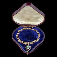 Antique Victorian Turquoise Heart Forget Me Not Bracelet 9ct Gold With Box c 1880 (3 of 9)