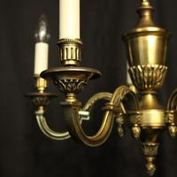 French 5 Light Gilded Brass Antique Chandelier (10 of 10)