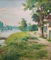 Original 1902 Antique French Riverscape Landscape Oil on Canvas Painting (6 of 13)