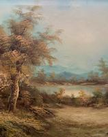 Large Fabulous 20th Century Vintage British Autumn Country Landscape Oil Painting (5 of 12)