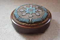 Circular Beadwork Footstool With Blue Floral Pattern