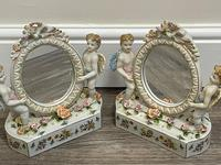 Pair of Small Dresden Victorian Style Porcelain Cherub Table Mirrors (2 of 60)
