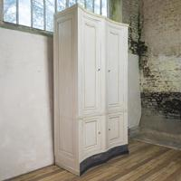 Tall French Mid 19th Century Serpentine Shaped Painted Armoire