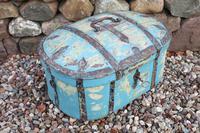 Scandinavian / Swedish 'Folk Art' Travel chest in blue paint and ironwork, 18th Century (29 of 37)