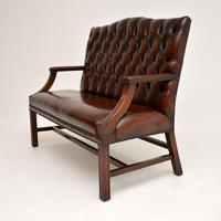 Leather & Mahogany Chippendale Style Sofa (3 of 12)