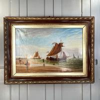 Antique Marine Seascape Coastal Oil Painting of Dutch Sailing Barges Signed J Witham 1898 (2 of 10)