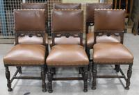 1940s Set of 6 Oak Dining Chairs with Brown Leather Seats