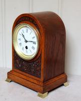 Edwardian Oak Arch Top Mantel Clock (6 of 12)