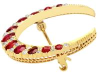 3.83ct Ruby & 0.48ct Diamond, 12ct Yellow Gold Crescent Brooch - Antique c.1890 (3 of 9)