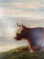 Antique Victorian landscape Oil Painting with Cows Sheep & Milkmaid (6 of 10)