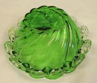 Antique Victorian Green Glass Frilled Bowl (5 of 6)