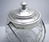 Hallmarked 1927 Solid Sterling Silver Mounted & Cut Glass Biscuit Barrel Cookie Jar Box Container (7 of 9)