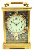 Superb French 8 Day Champleve Carriage Clock Cylinder Platform, Working c.1900 (8 of 12)