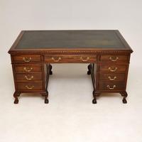 Antique Mahogany Leather Top  Pedestal Desk (2 of 12)