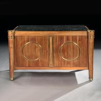 Elegant French Mid Century Modernist Fossil Marble Topped Commode