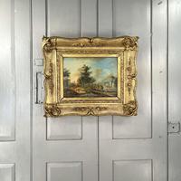 Antique Continental European River Landscape Oil Painting 2 of 2