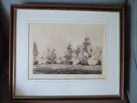 """Coloured Aquatint Entitled """"Sir Richard Strachan's Action Nov 4th 1805"""" from the Volume """"The Naval Achievements of Great Britain from the Year 1793-1817"""" Published by James Jenkins 1817"""