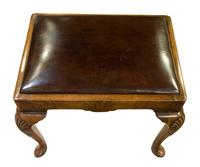 Queen Anne Style Walnut Stool with Burgundy Leather Seat (4 of 6)