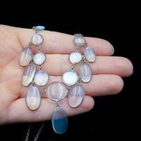 Antique Moonstone Sterling Silver Drop Fringe Necklace (8 of 8)
