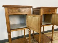 Antique French Bedside Cabinets Marble Tops Walnut Pot Cupboards (5 of 12)