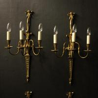 French Set of 4 Gilded Triple Arm Wall Lights (2 of 10)