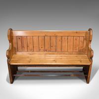 Antique Hallway Bench, English, Pine, Reception, Pew, Ecclesiastic, Victorian (8 of 12)