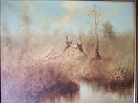 B Norton:  Oil Painting on Canvas of Pheasants in Marshland Setting (2 of 4)