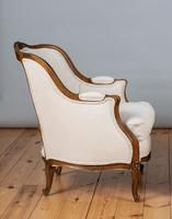 Large French Louis XV Style Walnut Bergere Upholstered Armchair (2 of 11)