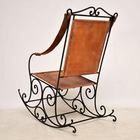 Antique Wrought Iron & Leather Rocking Chair (5 of 12)