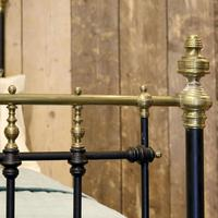Late Victorian Brass & Cast Iron Antique Bed in Black (5 of 7)
