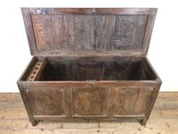 Antique 18th Century Oak Coffer with Three Panel Front (4 of 19)