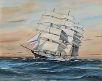 Awesome Tea Clipper Ship 'Hornet' Rough Seas Seascape Watercolour Painting c.1909 (2 of 12)