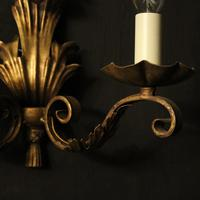 French Set of 4 Gilded Iron Twin Arm Wall Lights (3 of 10)