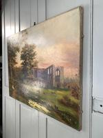 Antique Landscape Oil Painting of Ruined Gothic Abbey with Sheep Signed FCH (8 of 10)