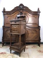 Antique French Stunning Huge Oak Bed Frame & Pot Cupboard (6 of 16)