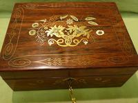 Beautifully Inlaid Rosewood Jewellery Box. Unusual Interior c.1865 (2 of 14)