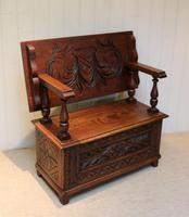 Carved Oak Monks Bench (10 of 10)