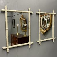 Pair of Painted Faux Bamboo Mirrors