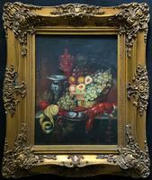 Fine Early 20thc Antique Still Life Oil Painting - Fruit & Shellfish - Minor TLC