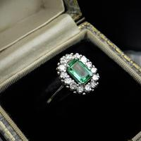 Vintage Emerald & Diamond 18ct White Gold Oblong Cluster Ring (4 of 6)